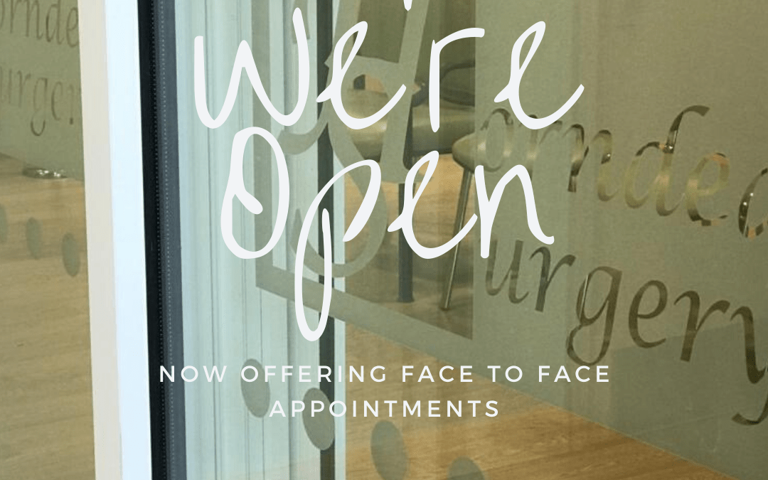 Covid Secure Clinic – now offering face to face appointments